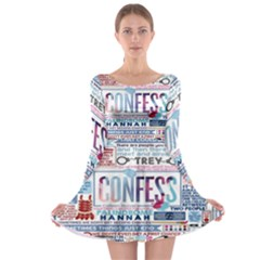 Book Collage Based On Confess Long Sleeve Skater Dress