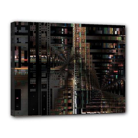 Black technology Circuit Board Electronic Computer Canvas 14  x 11