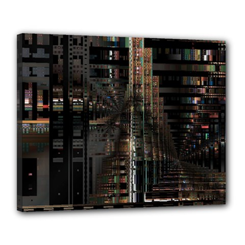 Black technology Circuit Board Electronic Computer Canvas 20  x 16