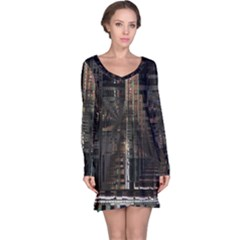 Black technology Circuit Board Electronic Computer Long Sleeve Nightdress