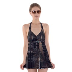 Black technology Circuit Board Electronic Computer Halter Swimsuit Dress