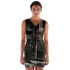 Black technology Circuit Board Electronic Computer Wrap Front Bodycon Dress