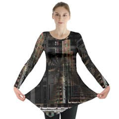 Black technology Circuit Board Electronic Computer Long Sleeve Tunic