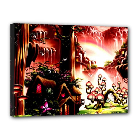 Fantasy Art Story Lodge Girl Rabbits Flowers Canvas 16  x 12