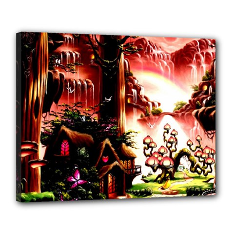 Fantasy Art Story Lodge Girl Rabbits Flowers Canvas 20  x 16