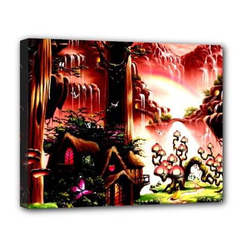 Fantasy Art Story Lodge Girl Rabbits Flowers Deluxe Canvas 20  x 16