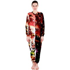 Fantasy Art Story Lodge Girl Rabbits Flowers OnePiece Jumpsuit (Ladies)