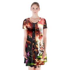 Fantasy Art Story Lodge Girl Rabbits Flowers Short Sleeve V-neck Flare Dress