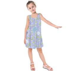 Plum Floral Leaves Kids  Sleeveless Dress
