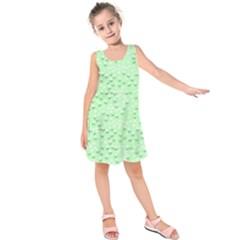 Light Green Flowers Kids  Sleeveless Dress