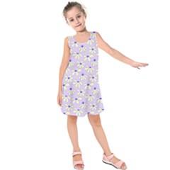 Light Violet Flowers Kids  Sleeveless Dress