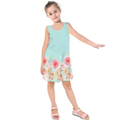 Light Blue Flowers Kids  Sleeveless Dress