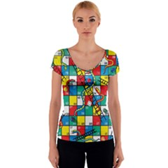 Snakes And Ladders Women s V-Neck Cap Sleeve Top