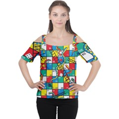 Snakes And Ladders Women s Cutout Shoulder Tee