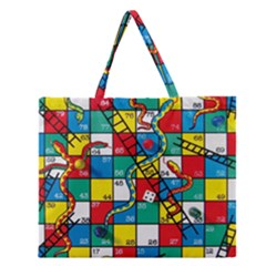 Snakes And Ladders Zipper Large Tote Bag