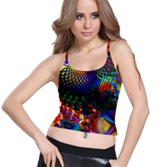 Colored Fractal Spaghetti Strap Bra Top