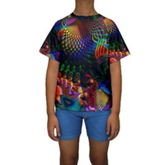 Colored Fractal Kids  Short Sleeve Swimwear