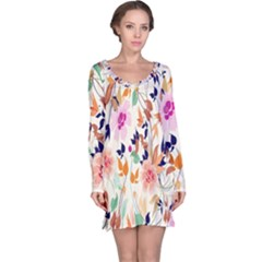 Vector Floral Art Long Sleeve Nightdress