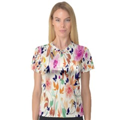 Vector Floral Art Women s V-Neck Sport Mesh Tee