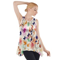 Vector Floral Art Side Drop Tank Tunic