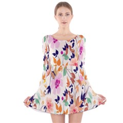 Vector Floral Art Long Sleeve Velvet Skater Dress