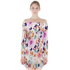 Vector Floral Art Long Sleeve Off Shoulder Dress