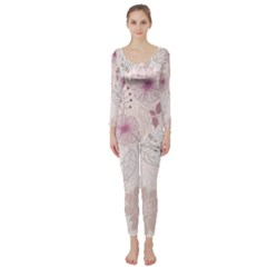 Leaves Pattern Long Sleeve Catsuit