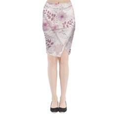 Leaves Pattern Midi Wrap Pencil Skirt