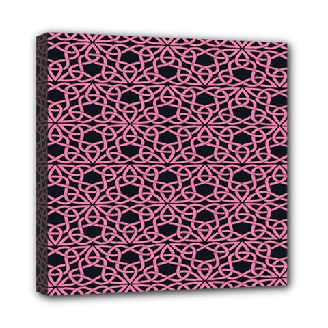 Triangle Knot Pink And Black Fabric Mini Canvas 8  x 8