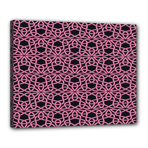 Triangle Knot Pink And Black Fabric Canvas 20  x 16
