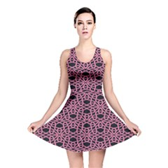 Triangle Knot Pink And Black Fabric Reversible Skater Dress
