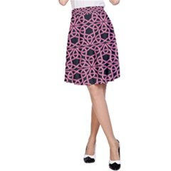 Triangle Knot Pink And Black Fabric A-Line Skirt