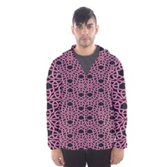 Triangle Knot Pink And Black Fabric Hooded Wind Breaker (Men)