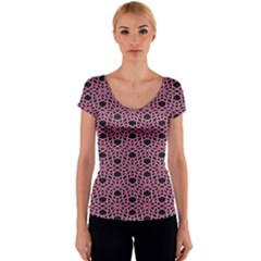 Triangle Knot Pink And Black Fabric Women s V-Neck Cap Sleeve Top