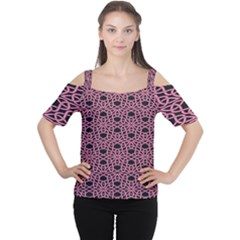 Triangle Knot Pink And Black Fabric Women s Cutout Shoulder Tee