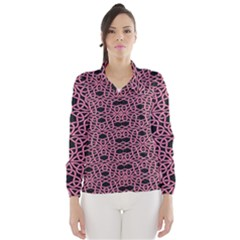 Triangle Knot Pink And Black Fabric Wind Breaker (Women)
