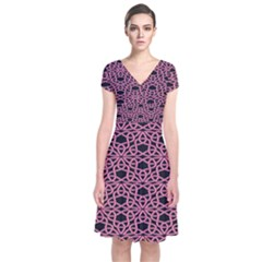 Triangle Knot Pink And Black Fabric Short Sleeve Front Wrap Dress