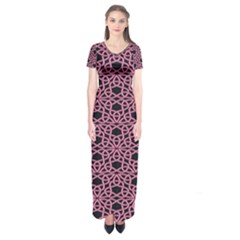 Triangle Knot Pink And Black Fabric Short Sleeve Maxi Dress