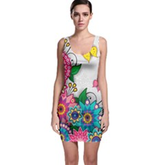 Flowers Pattern Vector Art Sleeveless Bodycon Dress