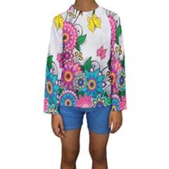 Flowers Pattern Vector Art Kids  Long Sleeve Swimwear