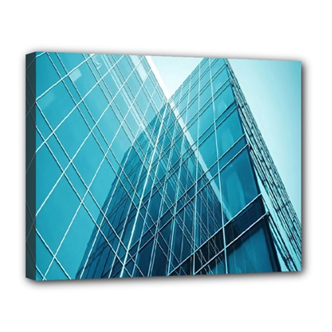 Glass Bulding Canvas 14  x 11