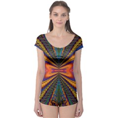 Casanova Abstract Art Colors Cool Druffix Flower Freaky Trippy Boyleg Leotard