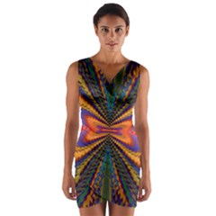 Casanova Abstract Art Colors Cool Druffix Flower Freaky Trippy Wrap Front Bodycon Dress