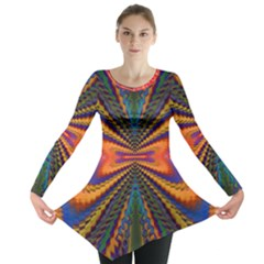 Casanova Abstract Art Colors Cool Druffix Flower Freaky Trippy Long Sleeve Tunic