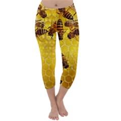 Honey Honeycomb Capri Winter Leggings