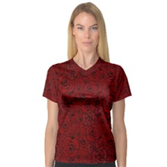 Red Roses Field Women s V Neck Sport Mesh Tee