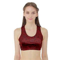Red Roses Field Sports Bra With Border
