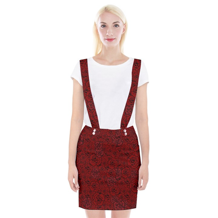 Red Roses Field Suspender Skirt