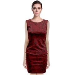 Red Roses Field Sleeveless Velvet Midi Dress