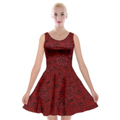 Red Roses Field Velvet Skater Dress
